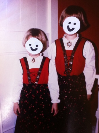 Christmas, circa 1979.  Me and my little sis, pretty and proud in our Norwegian bunods.